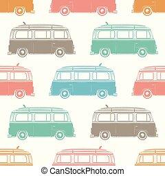 Retro camper van with surfing board. Seamless pattern....