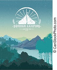 Retro Camping Colorful Poster