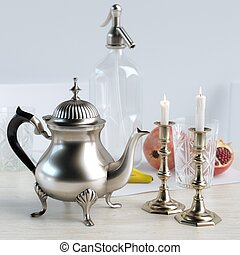 Retro Candelabra, Vintage Coffee Pot And Fruits In The...