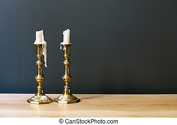 Retro Candelabra With Candles In Minimalist Room