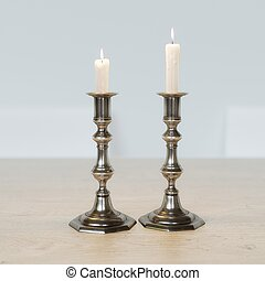 Retro Candelabra With On The Kitchen Table Stock Photo: