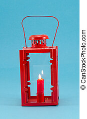 retro candlestick handle red candle burn lamp blue
