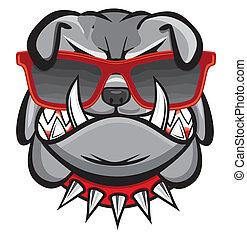 retro, cane, occhiali