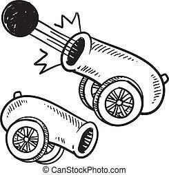Retro cannon sketch