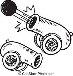 Doodle style old style cannon sketch in vector format.