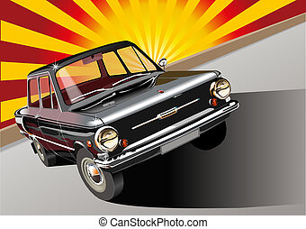 Retro car 60-s. Available EPS-10 vector format separated by groups and layers for easy edit