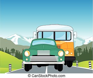 Retro car and bus on mountain road