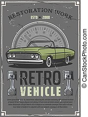 Retro car auto restoration service center poster - Retro...