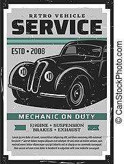Retro car auto service, repair and restoration