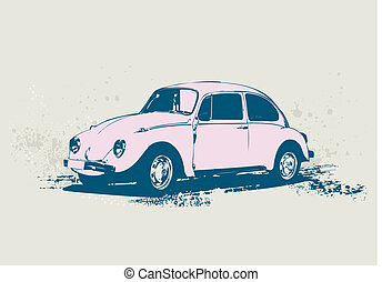 retro car - illustration of old custom Volkswagen Beetle...