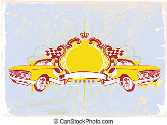 retro car - Insignia - two retro cars with banner. Blank so...