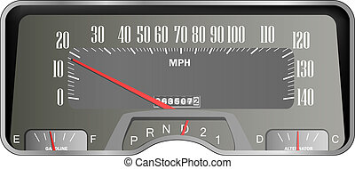 Retro car dashboard - vintage speedometer realistic