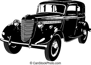 retro car detailed silhouette. Available EPS-8 vector format...