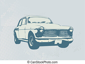 retro car - Vector Illustration of old vintage custom...