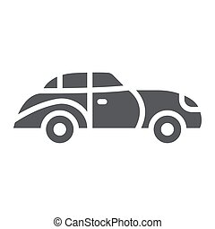 Retro car glyph icon, vintage and automobile, old car sign, vector graphics, a solid pattern on a white background.