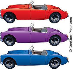 Retro car - Hand drawn vector illustration of retro sport...