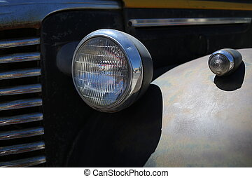 Retro car headlight. Close up