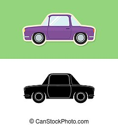 Retro car icon and silhouette