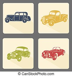 Retro car icon set