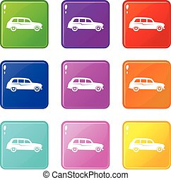 Retro car icons 9 set