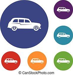 Retro car icons set