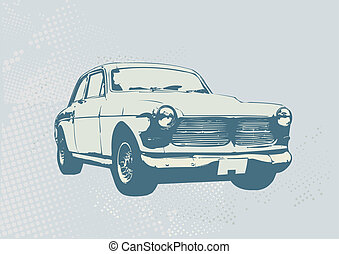 retro car - Illustration of old vintage custom...