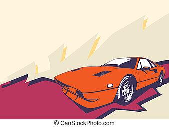 retro car - Illustration of old vintage custom collector's ...