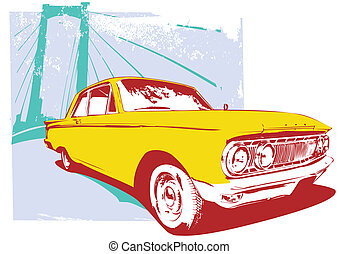 retro car - Illustration of old vintage custom...