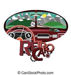 Retro car in front mirror