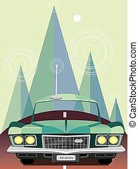 Retro car in mountains