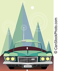 Retro car in mountains - Vector illustration on color...