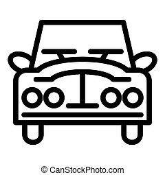 Retro car line icon. Vintage car vector illustration isolated on white. Auto outline style design, designed for web and app. Eps 10.