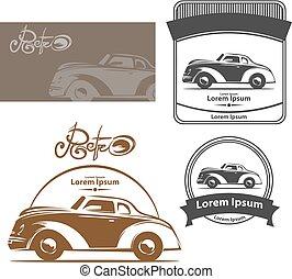 retro car logo elements