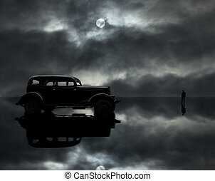 car, man and moon - retro car, man and moon