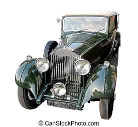 Retro car of 1930s Rolls-Royce Phantom Limousine with canvas top