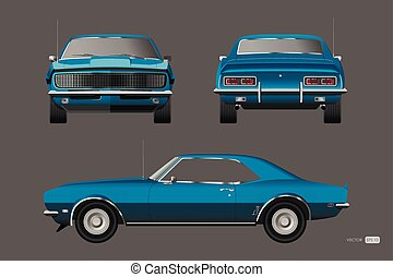 Retro car of 1960s. Blue american vintage automobile in realistic style. Front, side and back view. 3d classic auto
