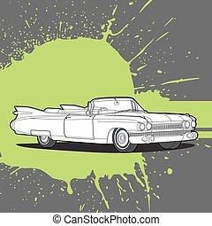 Retro car on a dark background