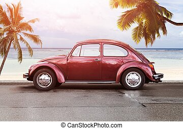 Retro Car On Beach