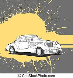 Retro car on bright background