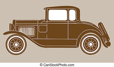 retro car on brown  background, vector illustration
