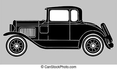 retro car on gray  background, vector illustration