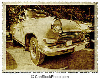 retro car on old photography