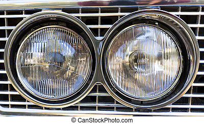 Retro car parade headlamp