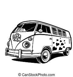 Retro car Peace love travel Van vector illustration