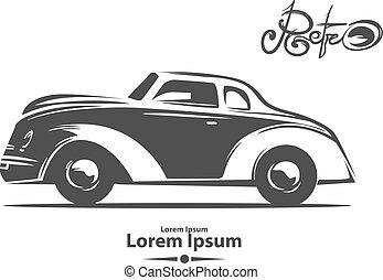 retro car profile view - retro car, for logo, vintage...