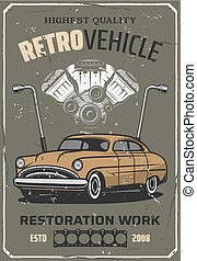 Retro car repair, auto mechanic service