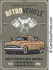 Retro car repair, auto mechanic service - Retro car service...