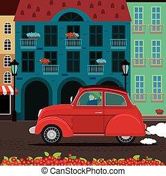 Retro car rides through the old town