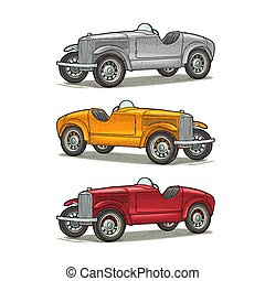 Retro car roadster. Side view. Vintage color engraving illustration for poster, web. Isolated on white background.