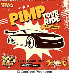 retro car service poster